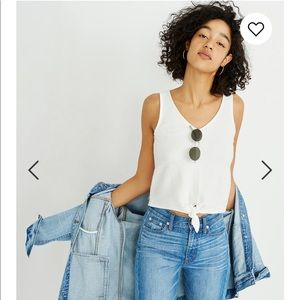 Madewell texture tie front tank